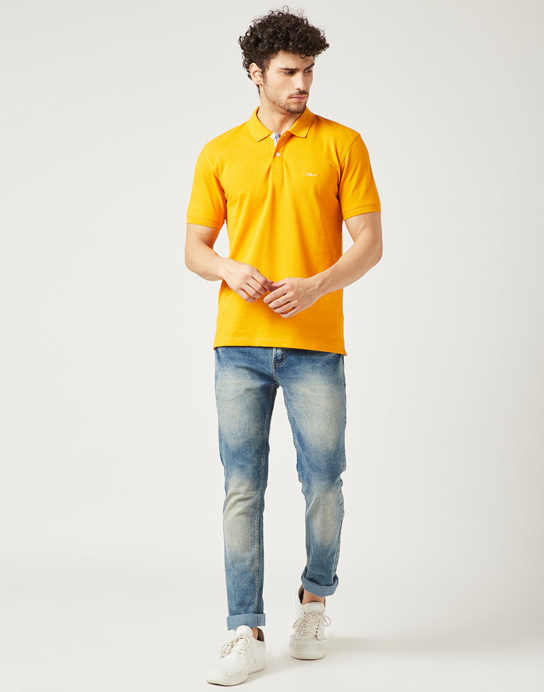 Octave Men Mustard Yellow Polo Tshirt