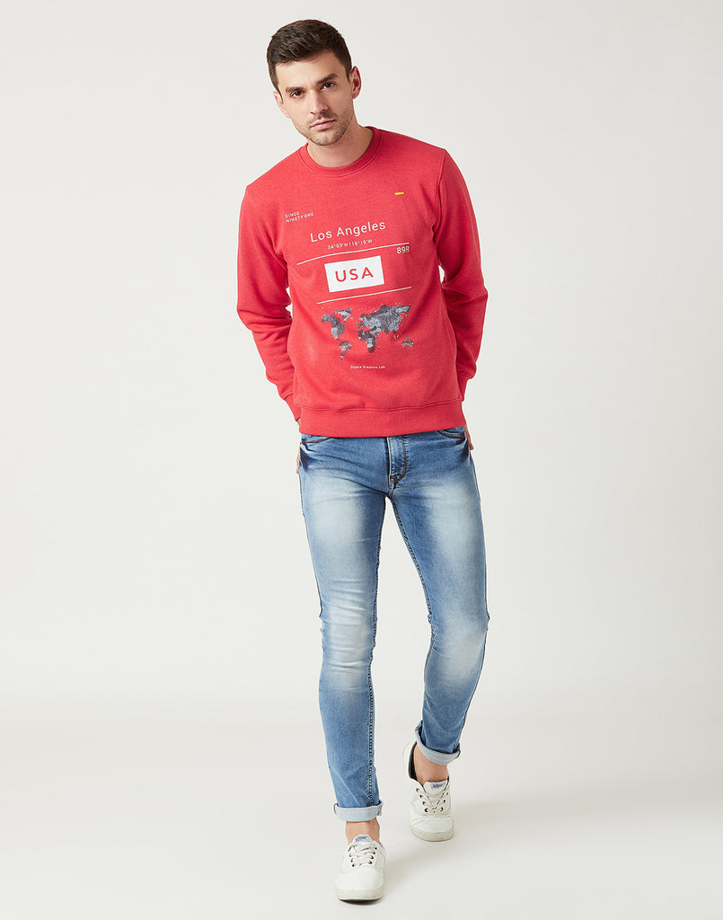 Octave Men Red Melange Printed Sweatshirt