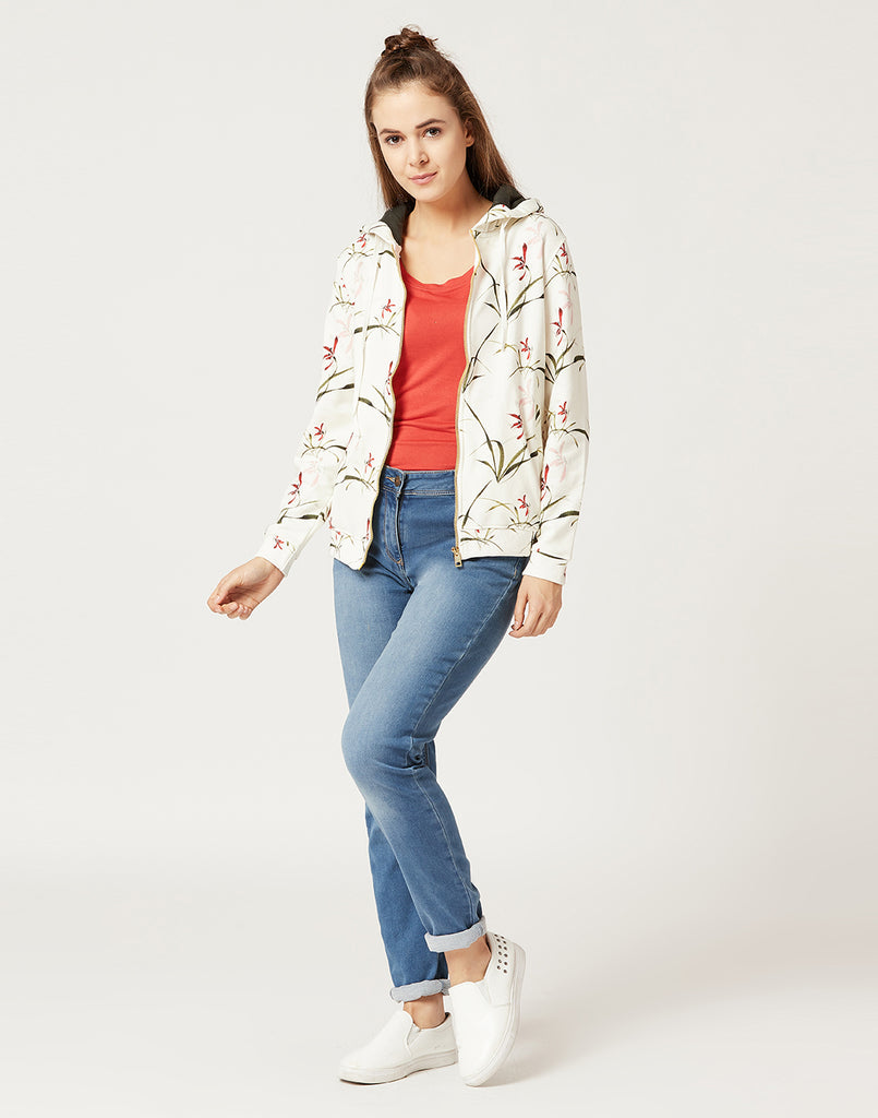 Mettle Women Off-White Floral Print Sweatshirt