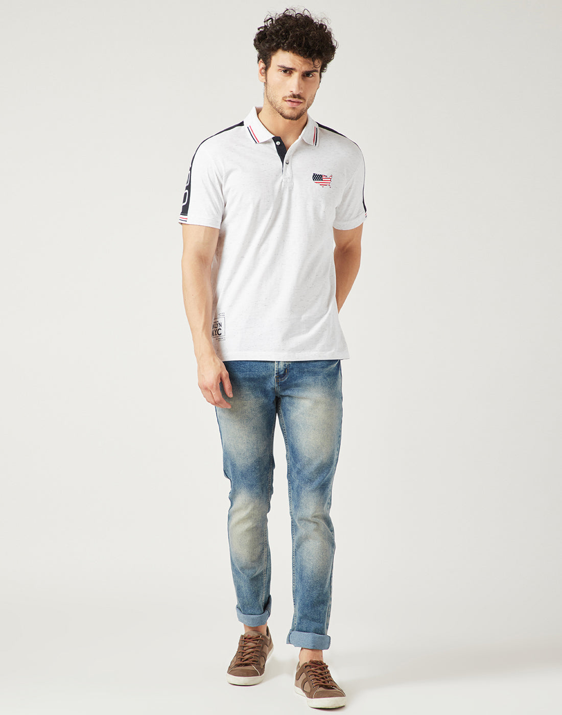 Octave Men White Melange Polo Tshirt