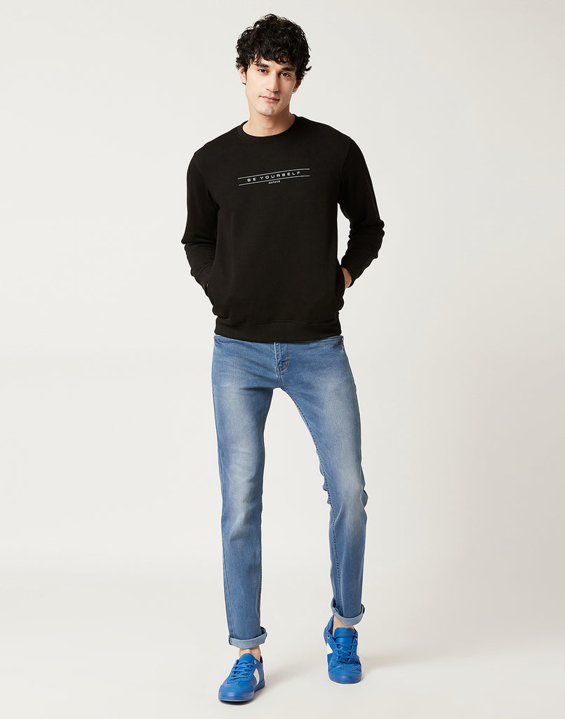 Octave Men Black Printed Sweatshirt