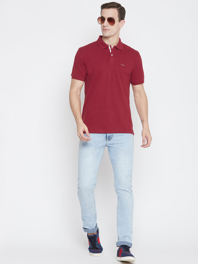 Octave hot red color t-shirt for men