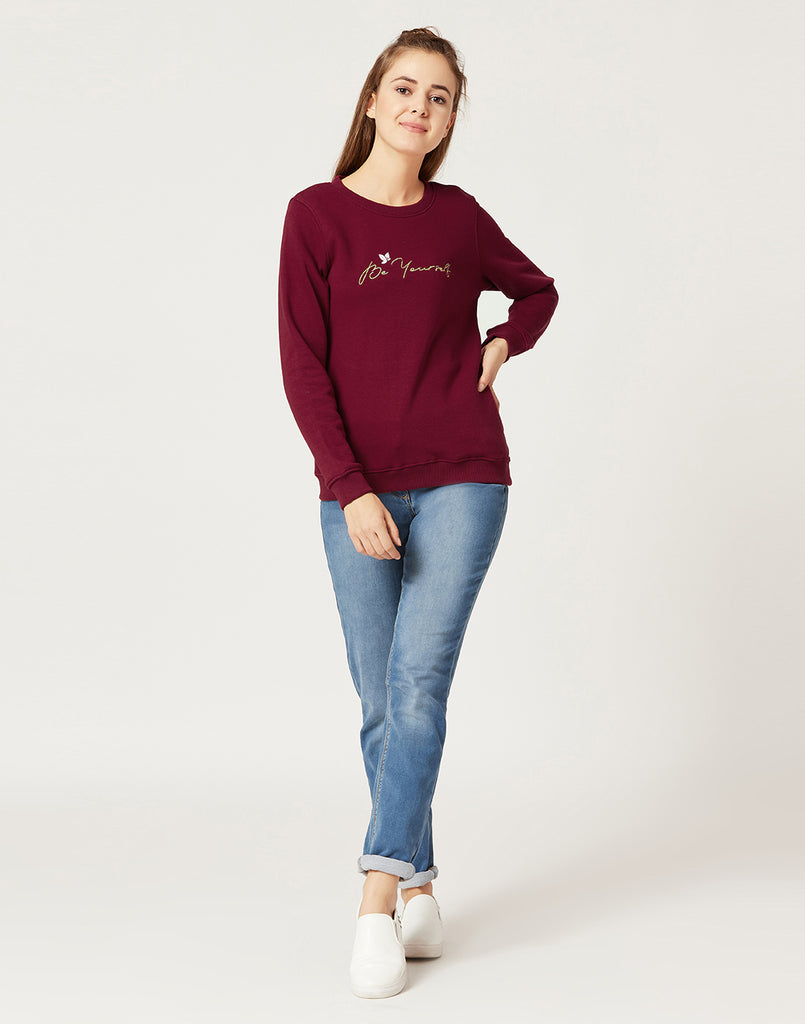 Mettle Women Salsa Red Printed Sweatshirt