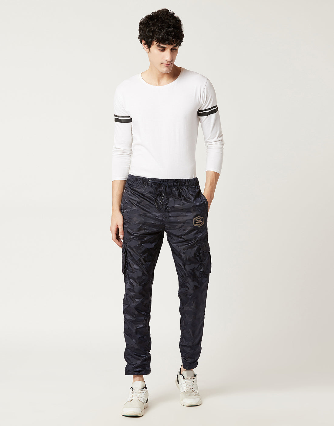 Octave Men Navy Camoflauge Print Trackpants