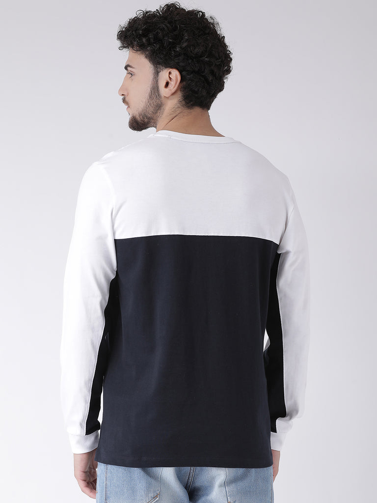 Octave Apparels White-Navy T-shirt for Men