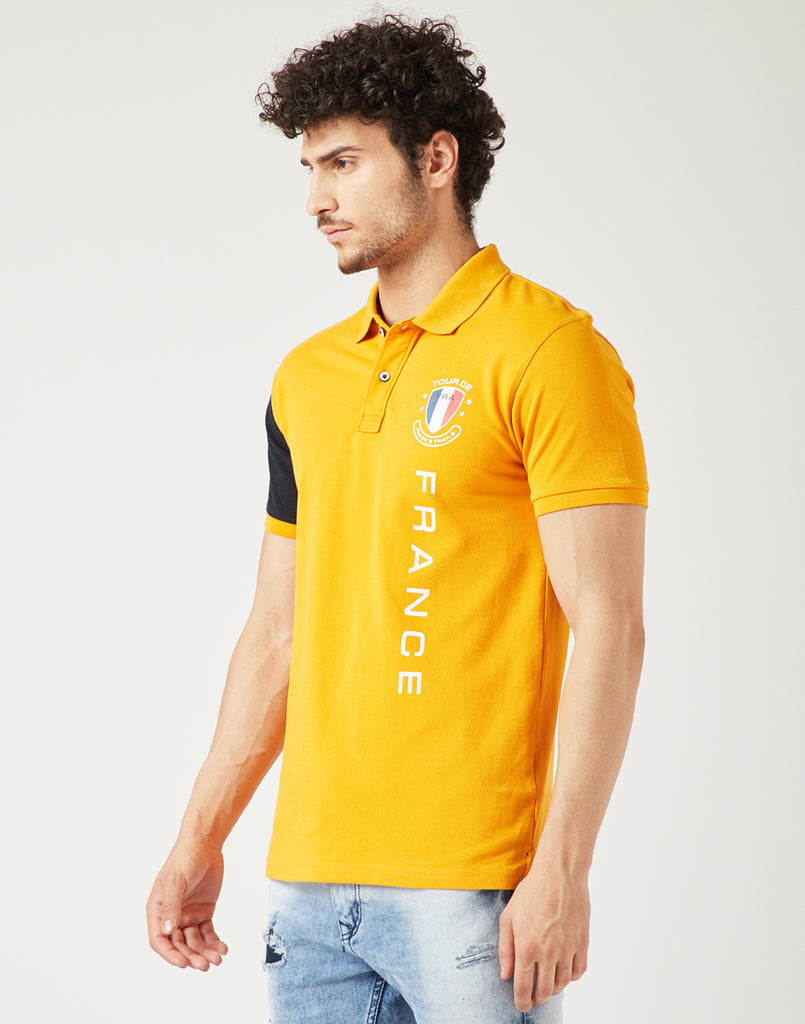 Octave Men Mustard Yellow Printed Polo Tshirt