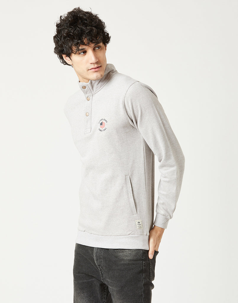 Octave Men Stone Grey Melange Printed Sweatshirt