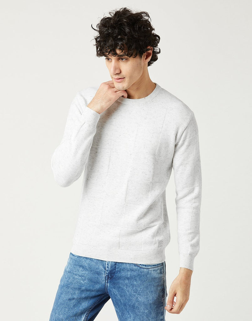 Mettle Men White Melange Sweatshirt