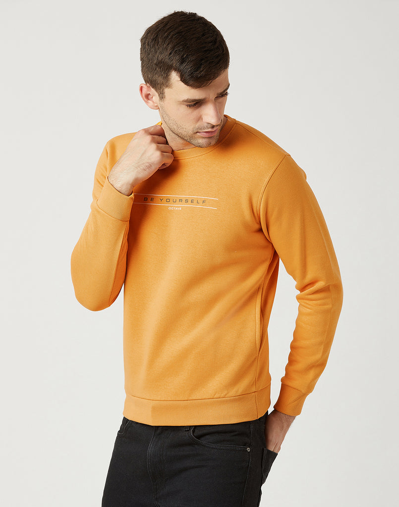 Octave Men Mustard Yellow Printed Sweatshirt