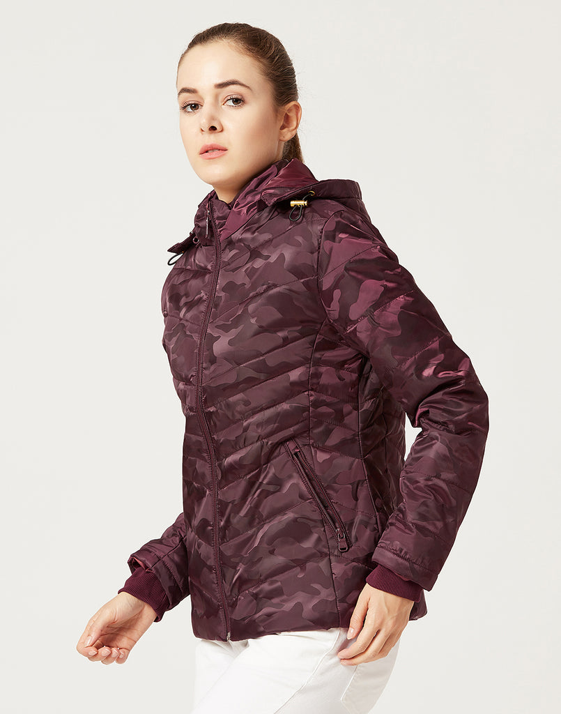 Mettle Women Wine Red Camoflauge Hooded Jacket
