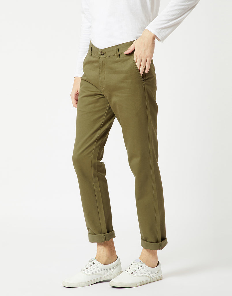 Octave Men Olive Chino Trousers