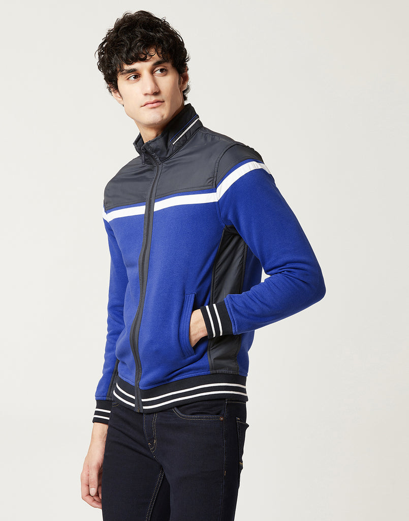 Octave Men Blue & Grey Colour block sweatshirt