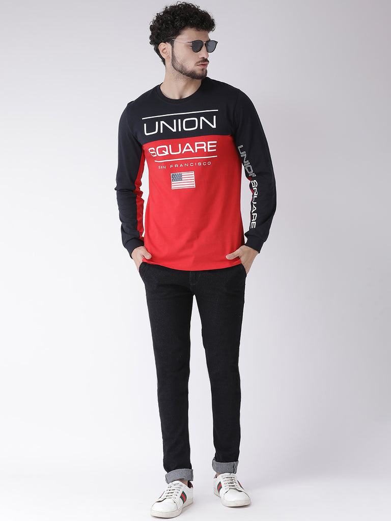 Octave Apparels Red-Black T-shirt for Men