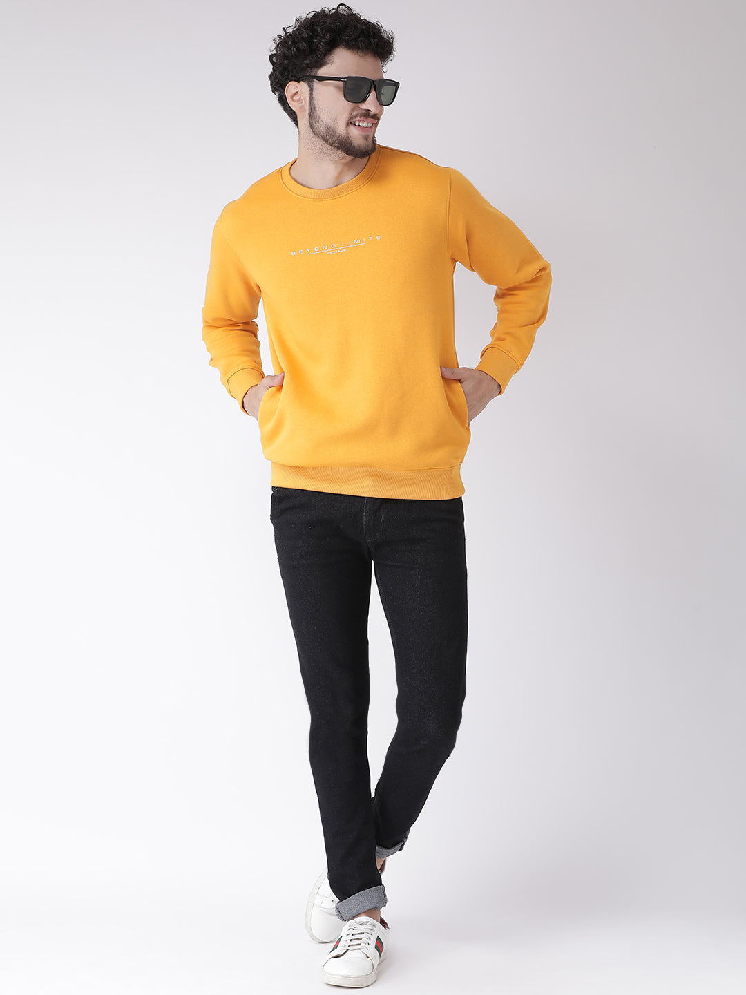 Octave Apparels Yellow Sweatshirt for Men