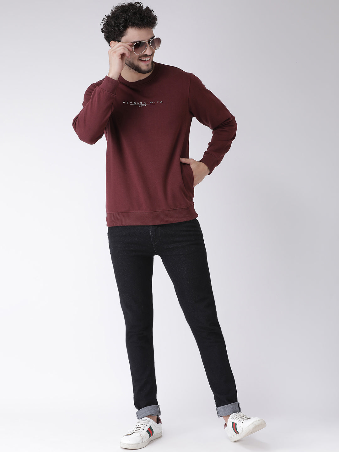 Octave Apparels Maroon Sweatshirt for Men