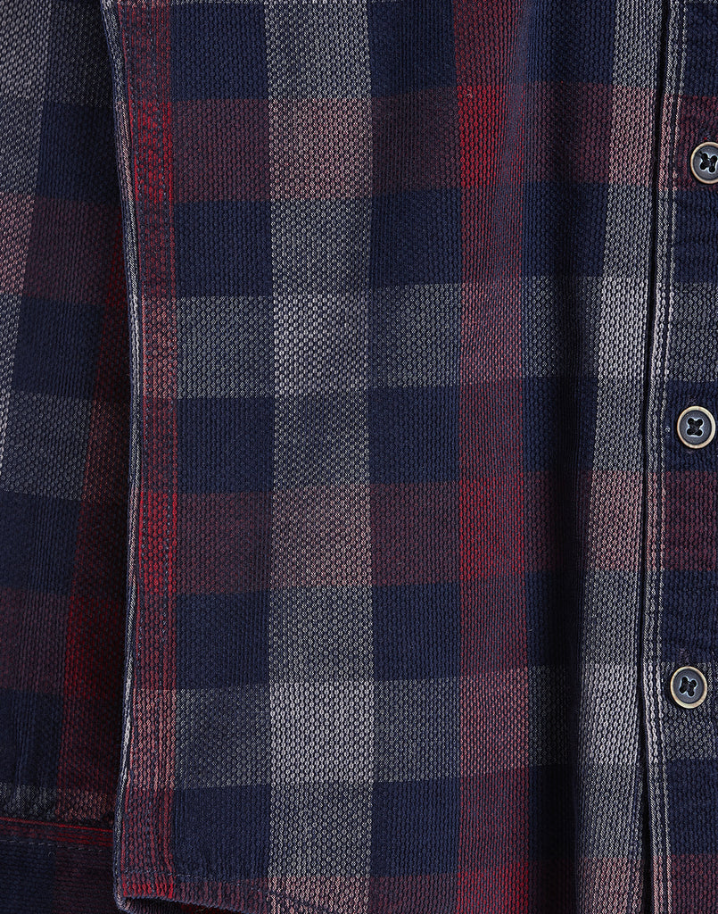 Octave Boys Brick Red & Navy Checked Shirt