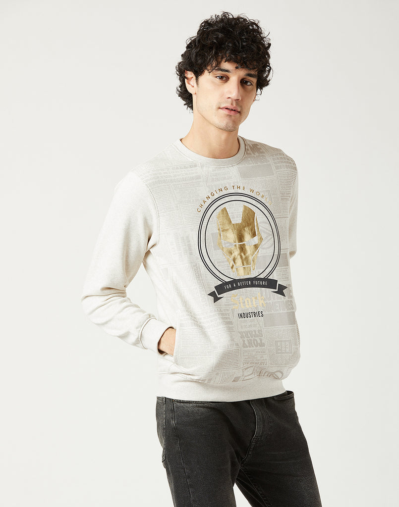 Octave Men Natural Melange Printed Sweatshirt