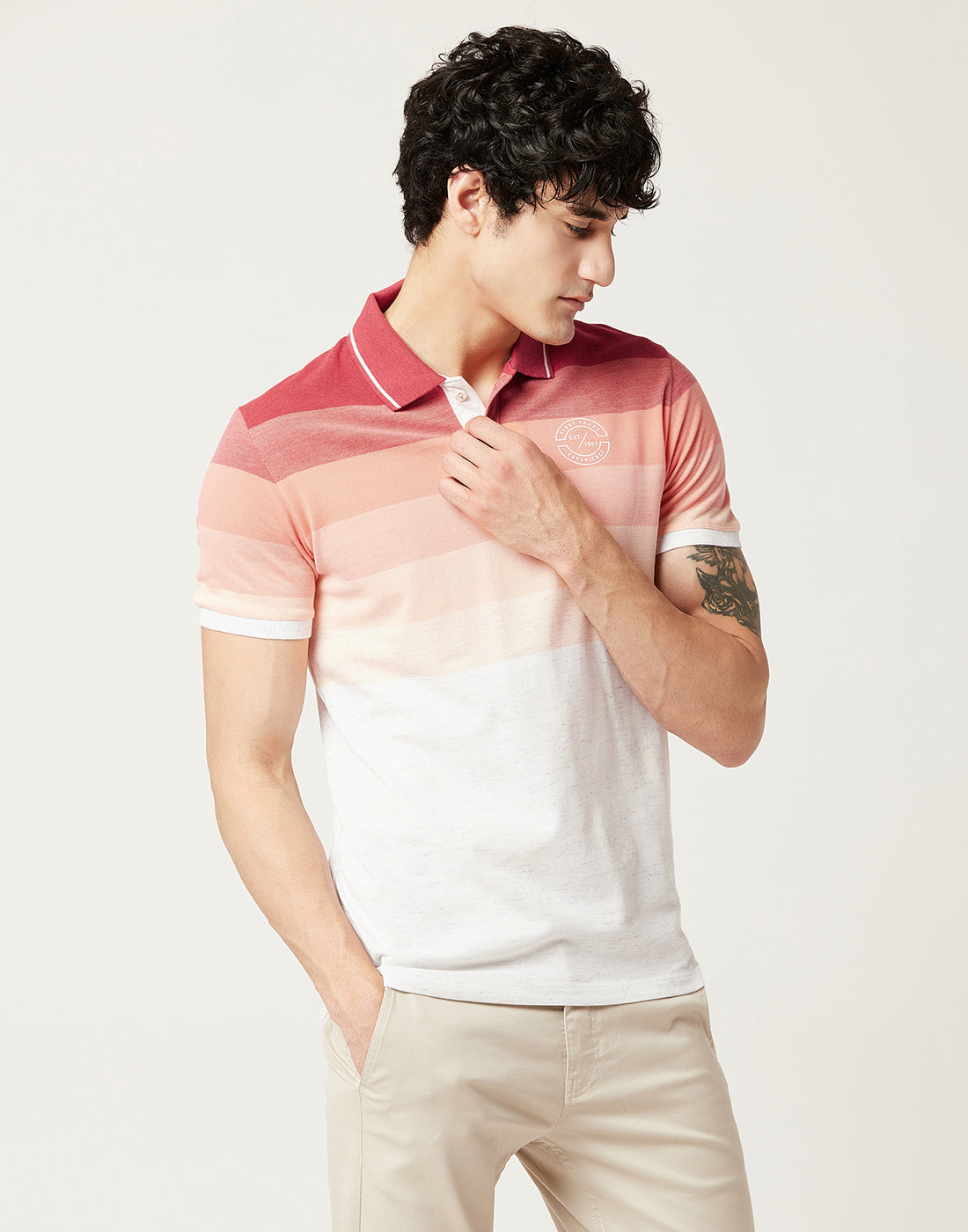 Red Melange Ombre Stripe Polo Tee