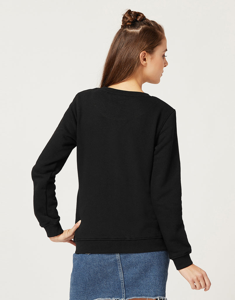 Mettle Women Black Printed Sweatshirt