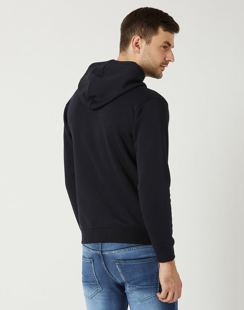 Octave Men Navy Hooded Printed Sweatshirt