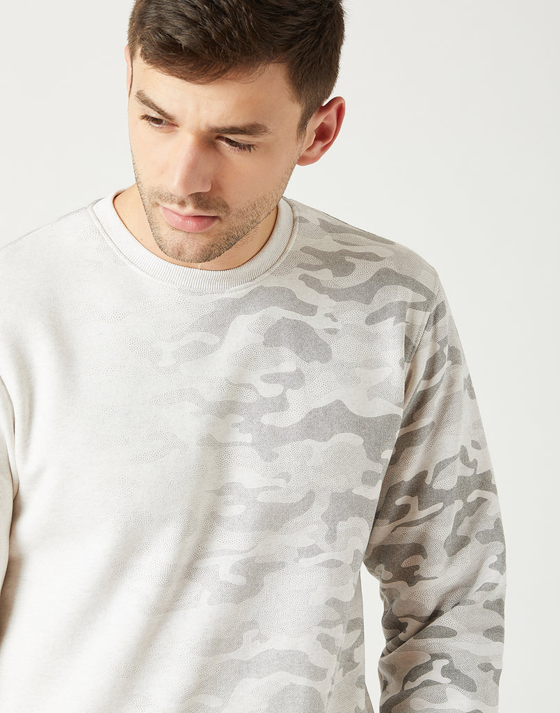 Octave Men Cloud Melange Printed Sweatshirt