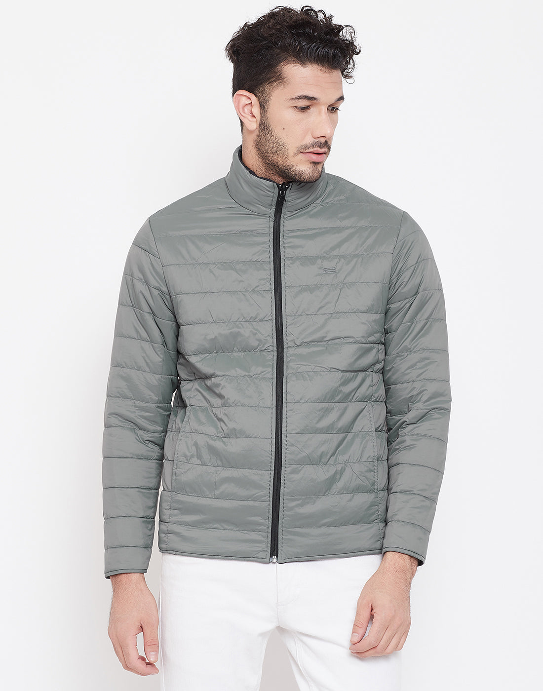Mettle Black and Grey Reversible Jacket for Men