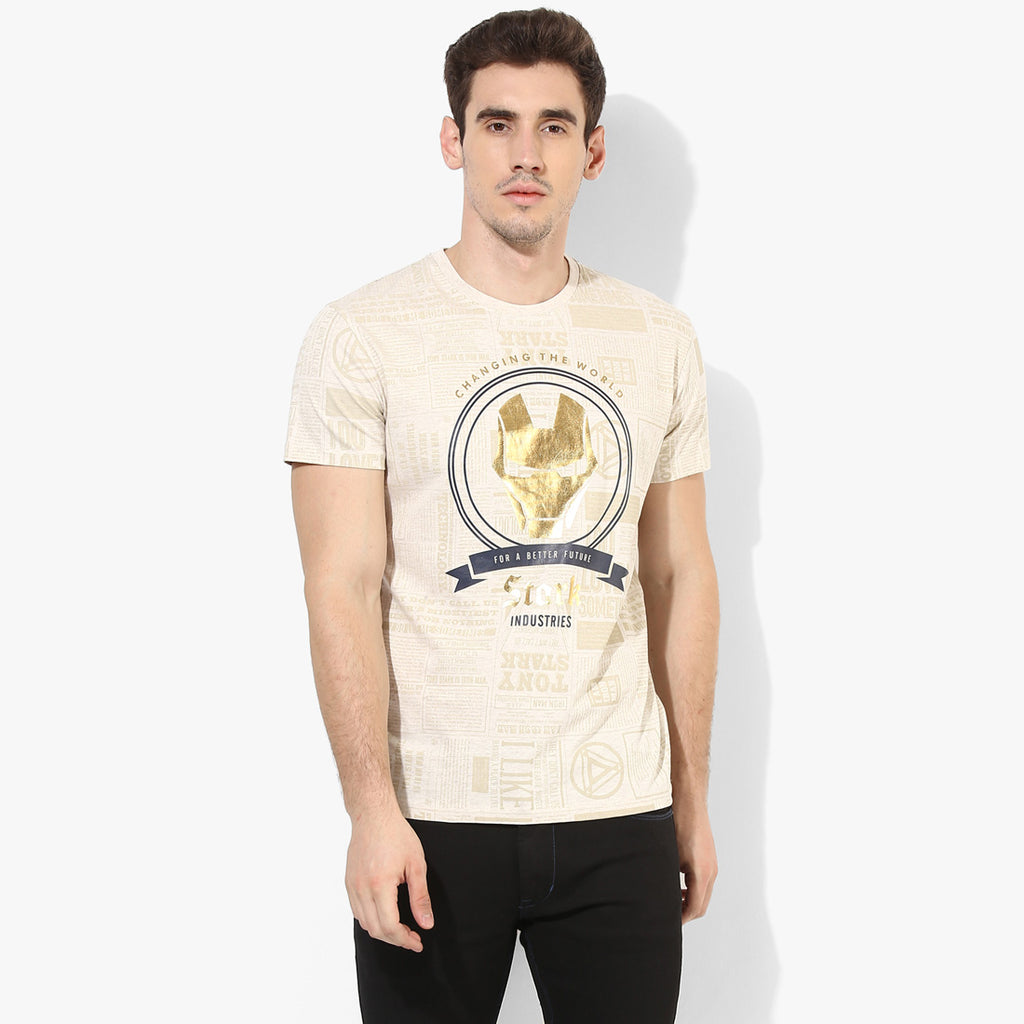Beige Iron Man Graphic Tee