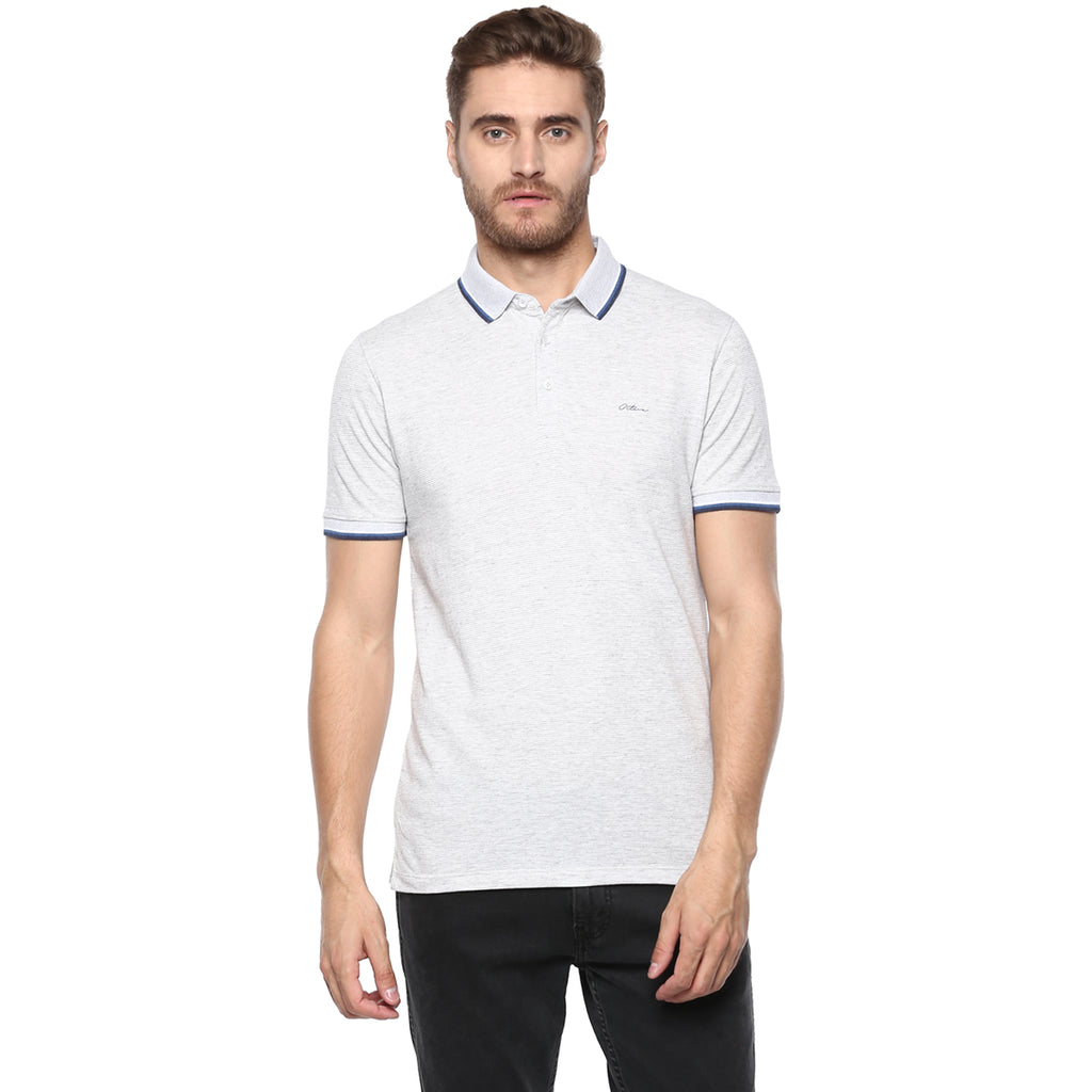 Grey Melange Stripe Detail Polo Tee