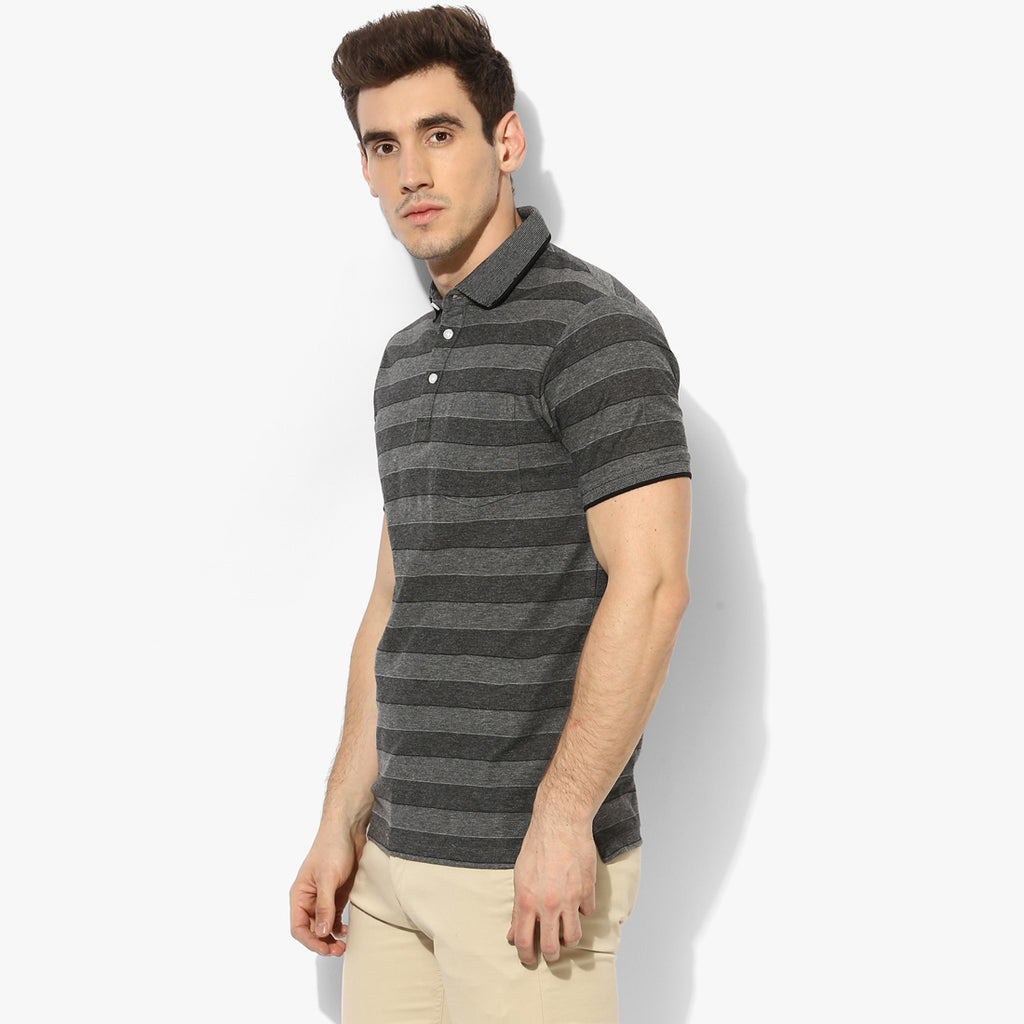 Black Color Play Stripe Tee
