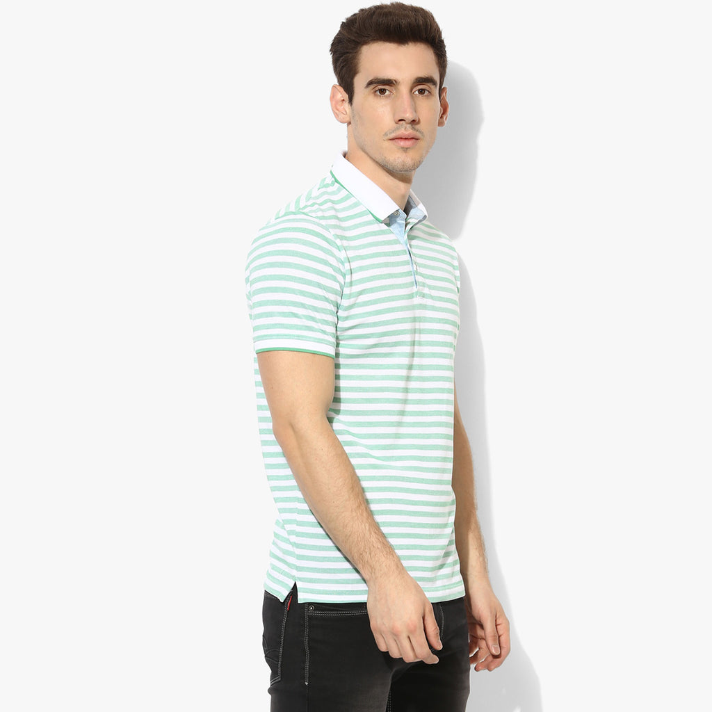 Mint Stripe Contarst Collar Tee