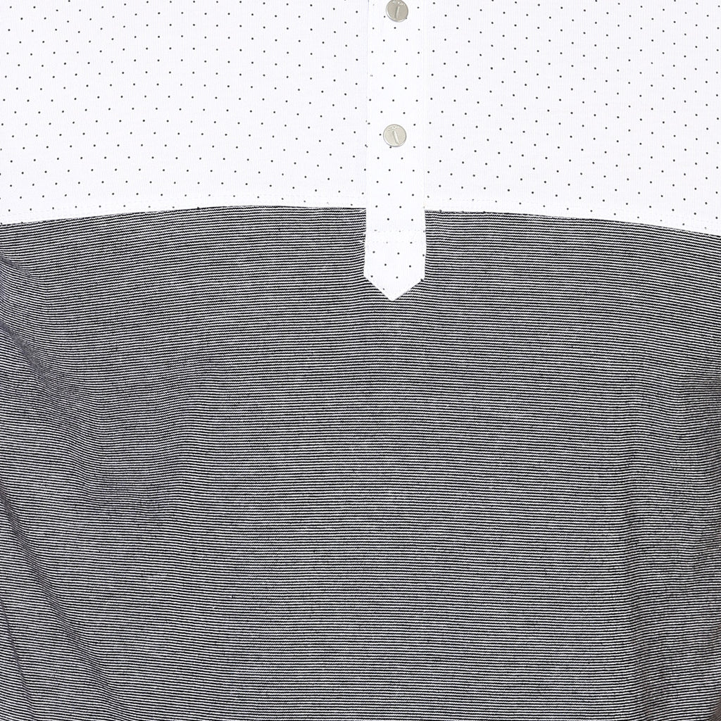 White Color Block Mandarin Collar Tee
