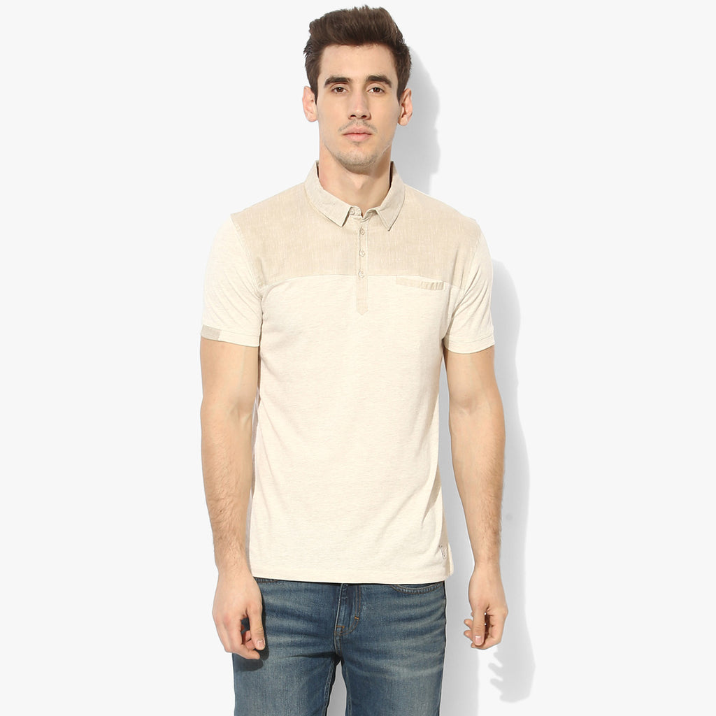 Beige Melange Yoke Color Block Tee