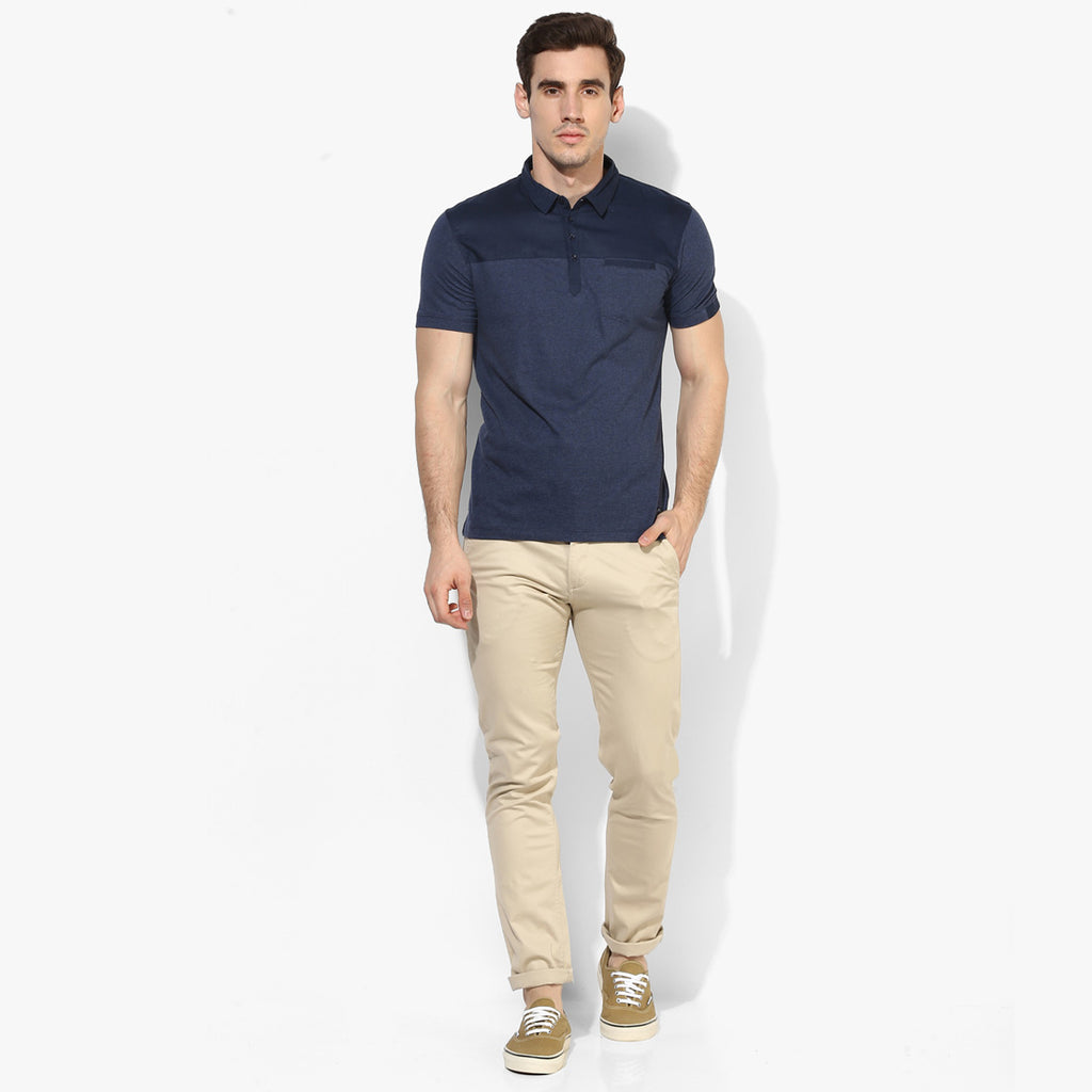 Navy Melange Yoke Color Block Tee