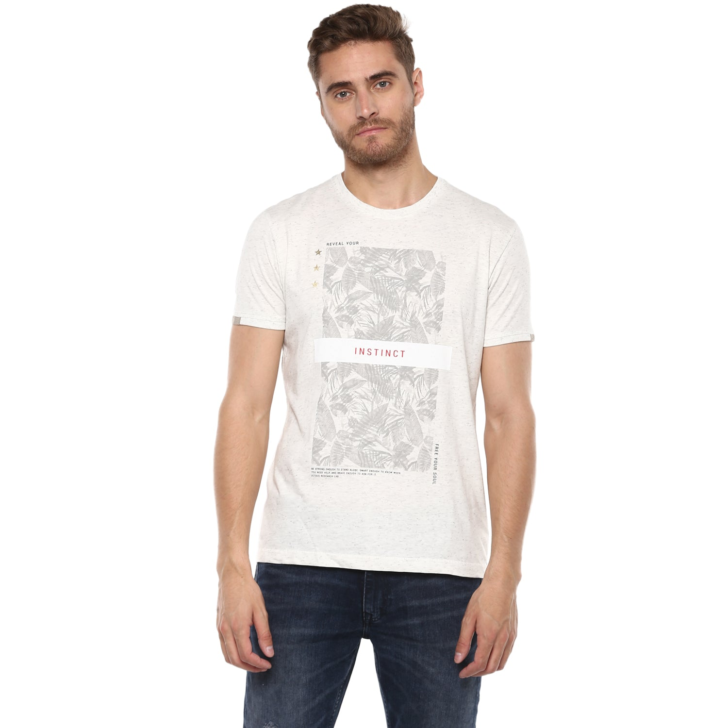 White Melange Instinct Tropical Graphic Tee