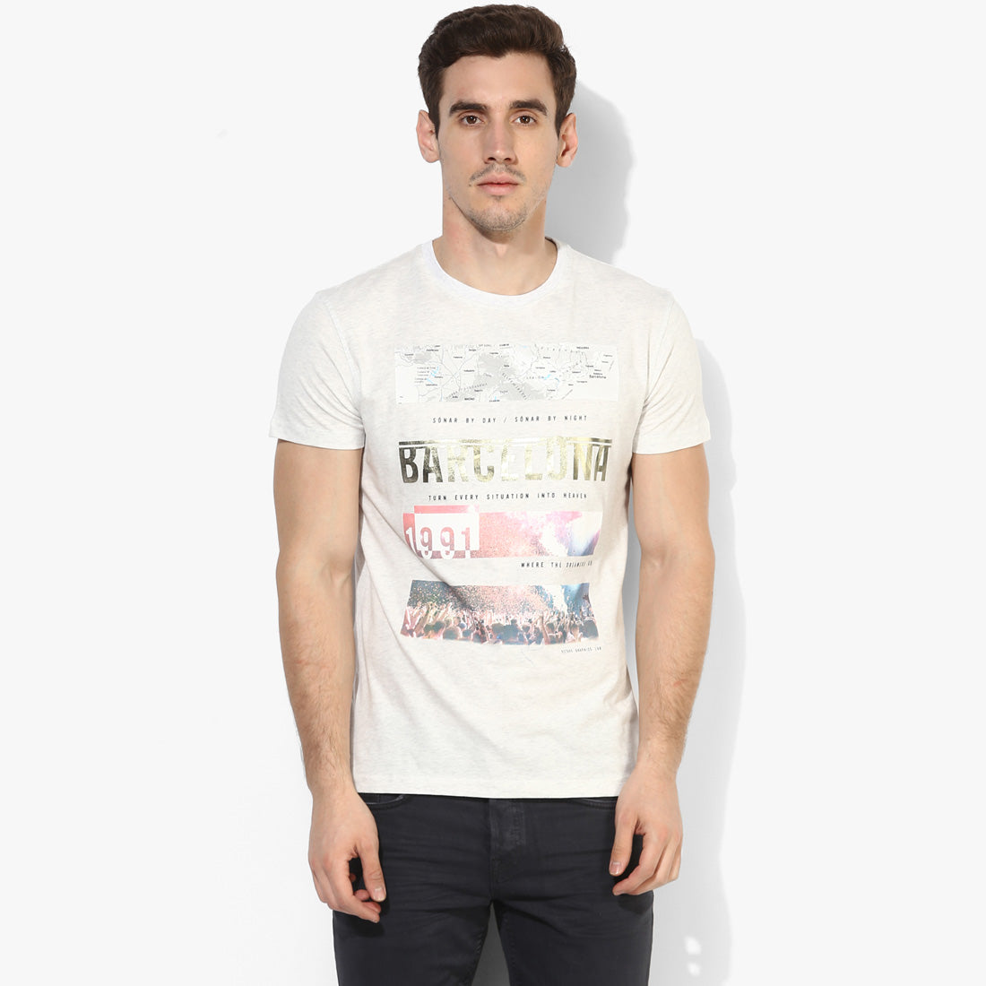 Silver Melange Barcelona Graphic Tee