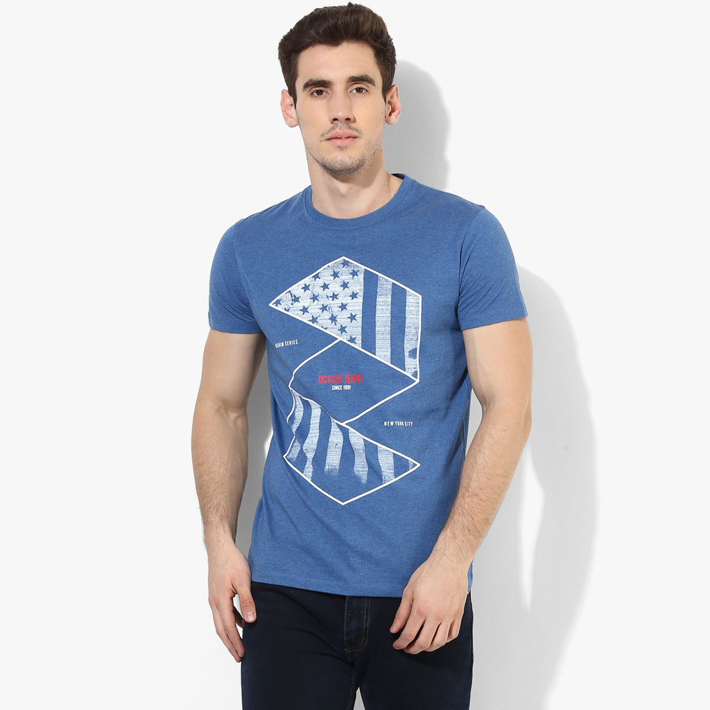 Blue Melange NYC Crew Neck Tee