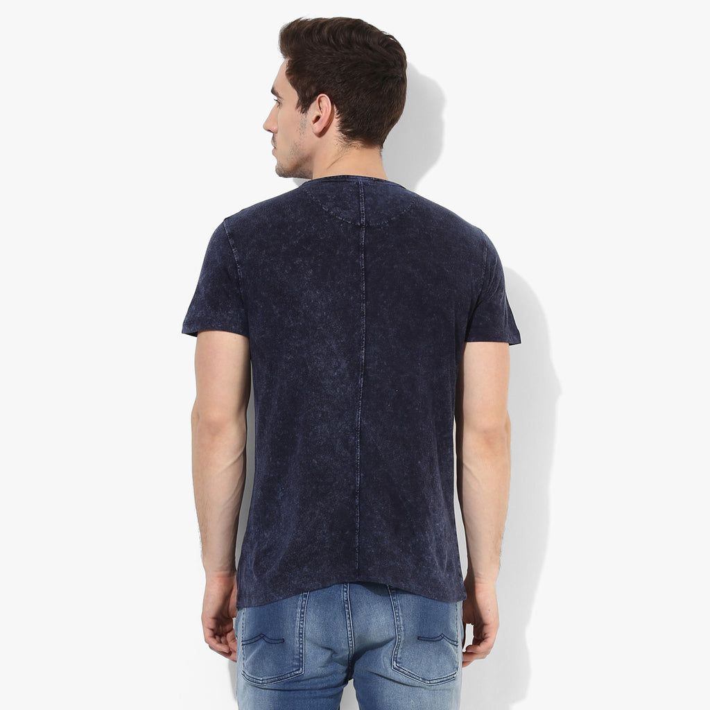 Indigo Distressed Crew Neck Tee