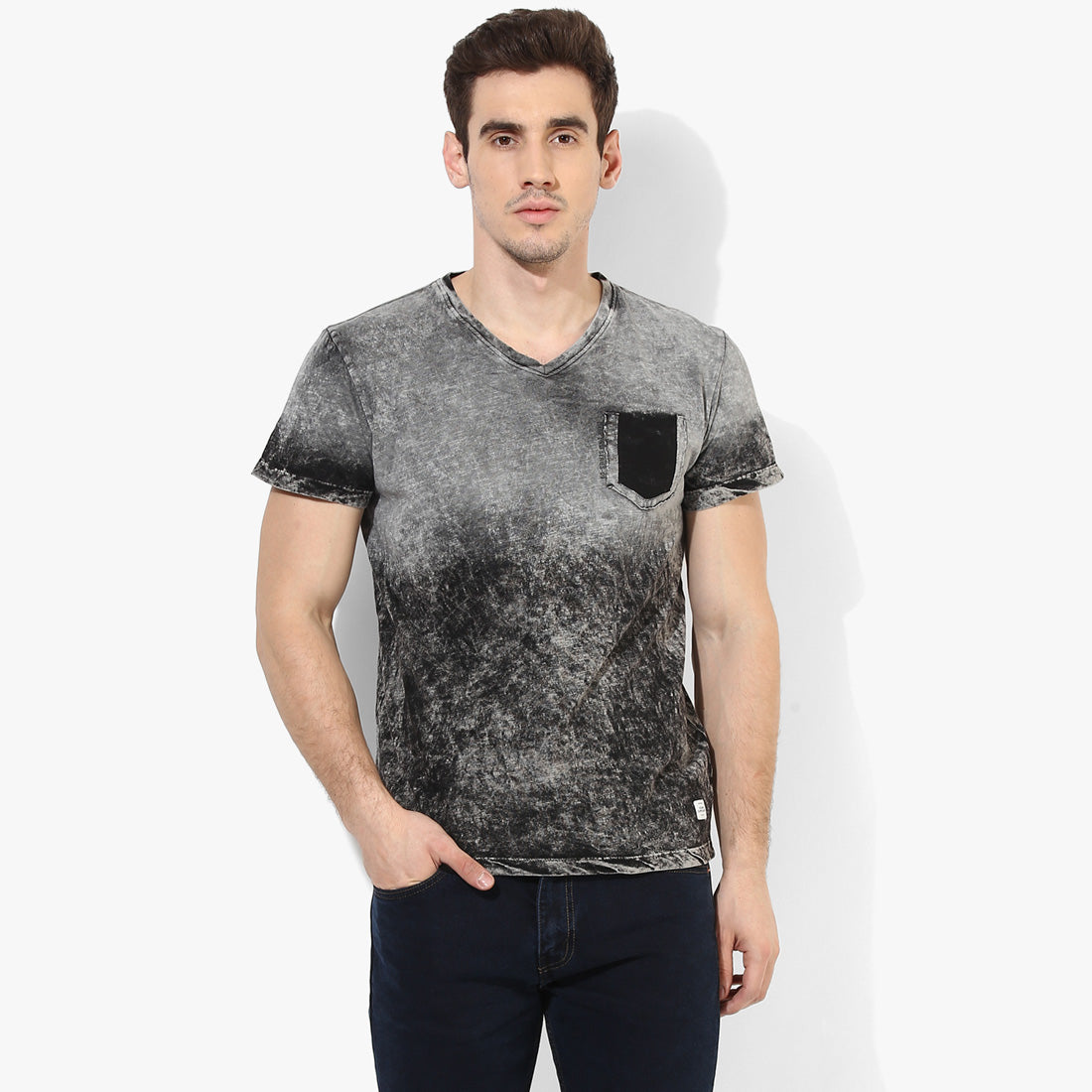 Black Ombre V-Neck Tee