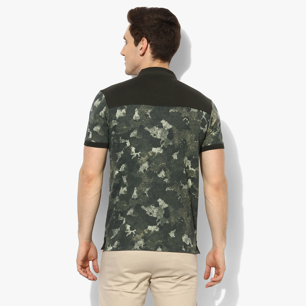 Olive Military Contrast Collar Tee