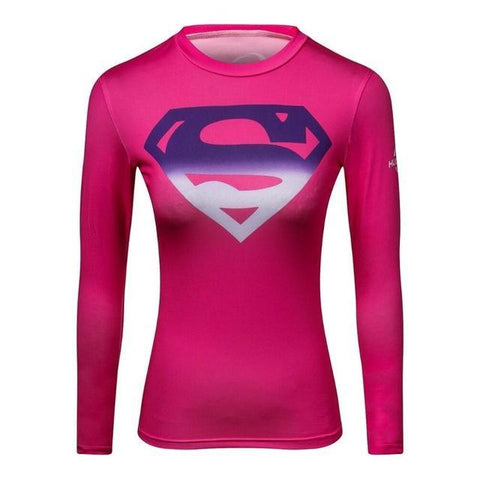 Women's Superman BJJ Rashguard Tops Pink / S