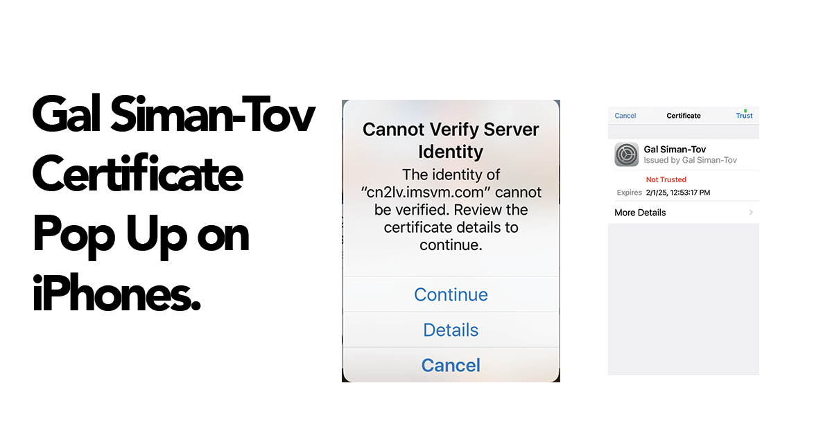 Gal Siman-Tov Certificate Pop Up On iPhones