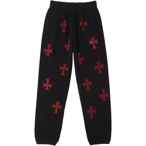 Black & Red Rhinestone Joggers