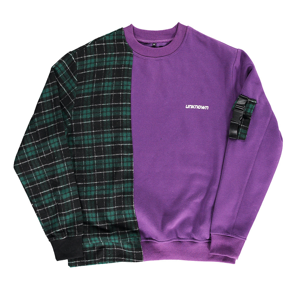 Purple Patchwork Crewneck