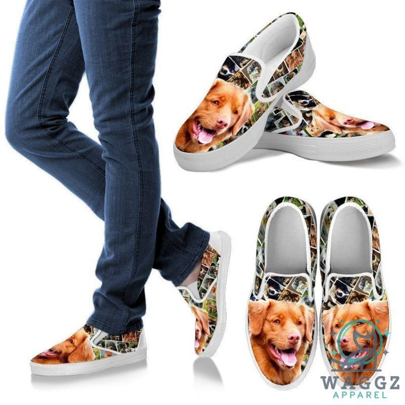 Amazing Nova Scotia Duck Tolling Retriever Print Slip Ons For Women-Waggz Apparel