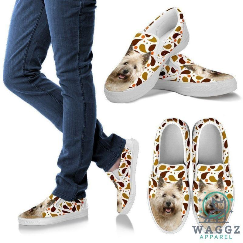 Cairn Terrier Dog Print Slip Ons For Women-Waggz Apparel