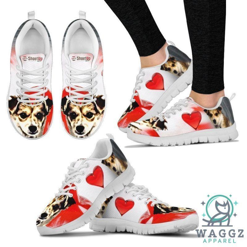 Cartoonized Dog Print Running Shoes For Women Designed By Sandy Hunter-Waggz Apparel