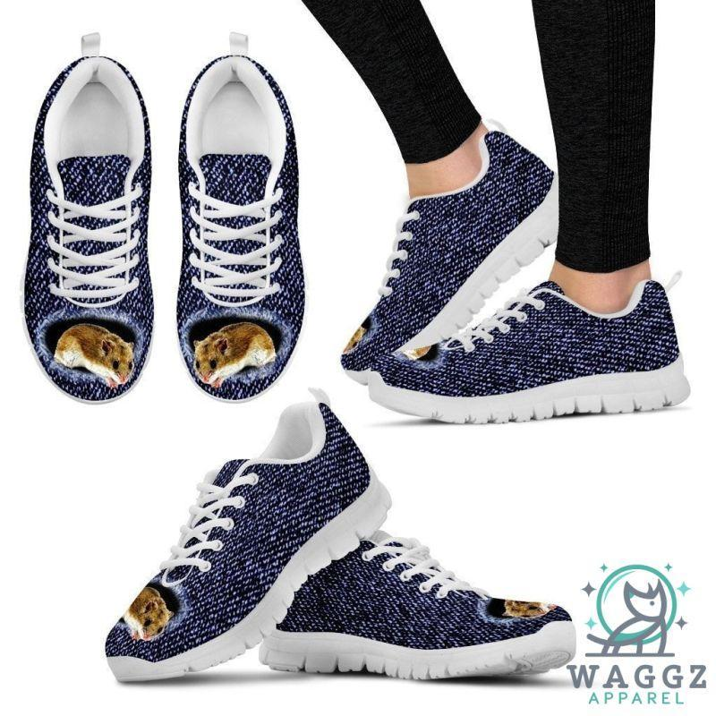 Chinese Hamster Printed (Black/White) Running Shoes For Women-Womens-US5 (EU35)-White-Waggz Apparel