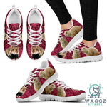 European Hamster Print (Black/White) Running Shoes For Women-Womens-US5 (EU35)-White-Waggz Apparel