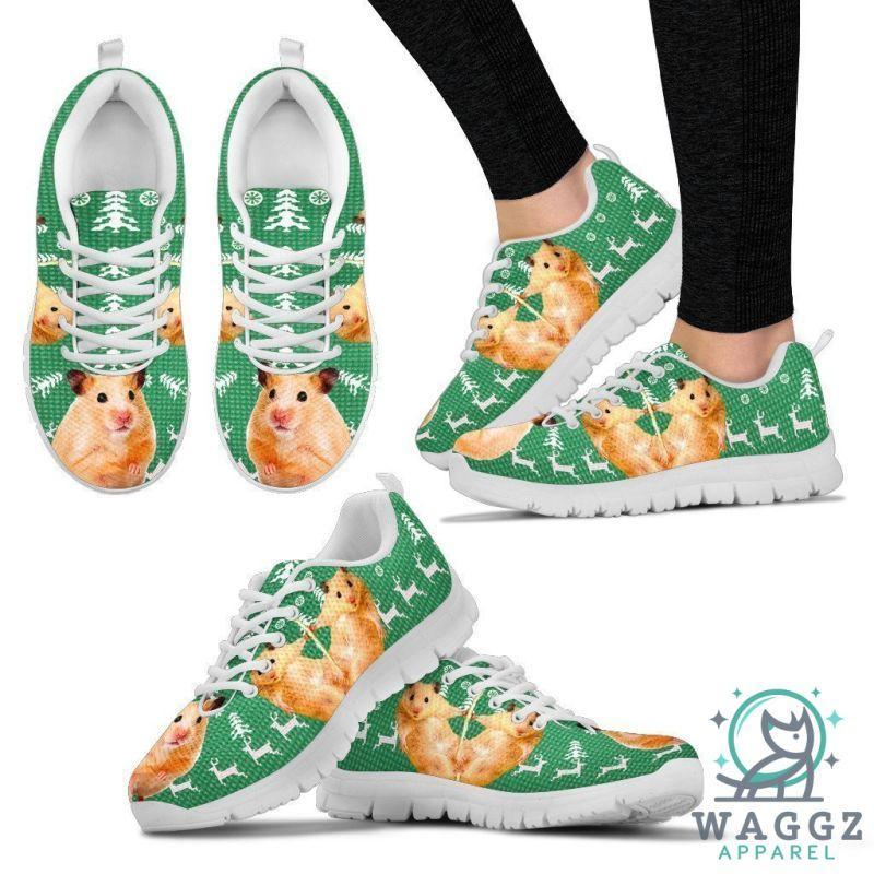 Golden Hamster (Syrian Hamster) Print Christmas Running Shoes For Women-Waggz Apparel