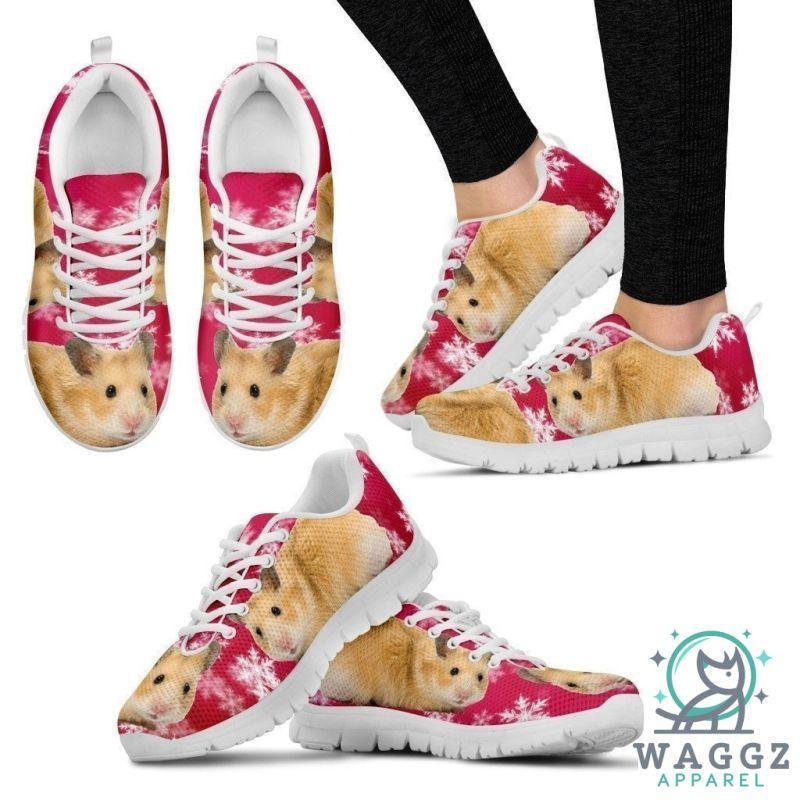 Syrian Hamster Print (Black/White) Running Shoes For Women-Womens-US5 (EU35)-White-Waggz Apparel